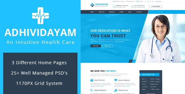 ADHIVIDAYAM - An Intuitive Health care PSD Template - Business Corporate