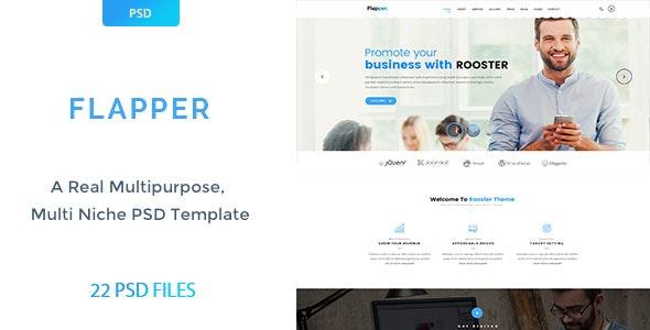 Flapper Multipurpose PSD Template - Corporate Photoshop