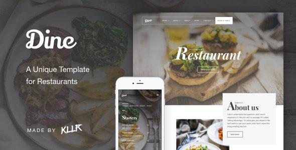Dine - A Unique Restaurant Template - Restaurants & Cafes Entertainment