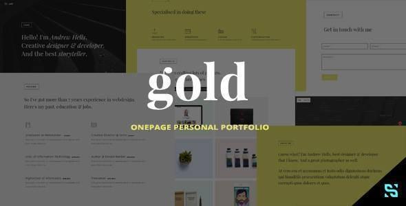 Gold - Onepage Personal Portfolio - Personal Site Templates