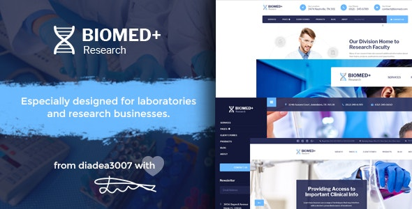 Biomed Plus - Laboratories & Medical Research PSD Template - Business Corporate