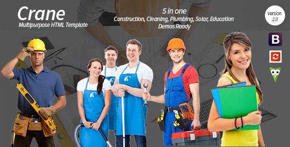 Crane - HTML5 Construction - Education - Cleaning - Plumbing - Solar Energy Template