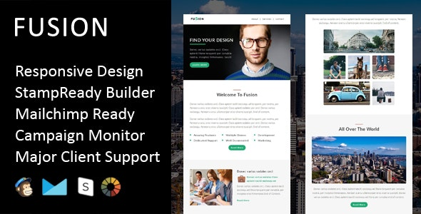 Fusion - Multipurpose Responsive Email Template + Stampready Builder - Email Templates Marketing