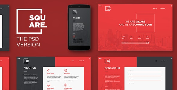 Square - PSD Coming Soon Template - Corporate PSD Templates