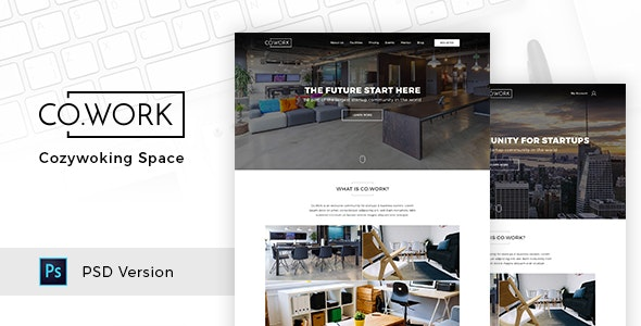 CoWork - Open Office & Creative Space PSD Template - Creative Photoshop