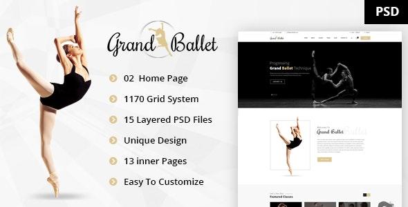 Grand Ballet - Dancing Academy PSD Template - Entertainment PSD Templates