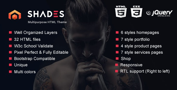 Shades - Creative Multipurpose Reponsive HTML5  template - Creative Site Templates