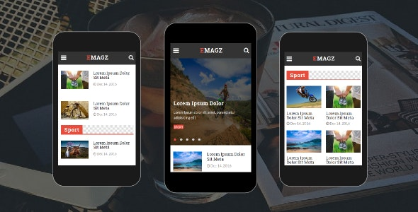 Emagz - News & Magazine Mobile Template - Mobile Site Templates