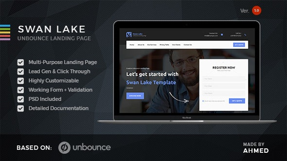 Swan Lake - Marketing Unbounce Template - Unbounce Landing Pages Marketing