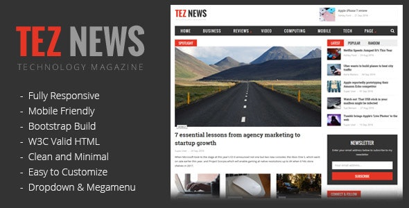 TezNews Magazine/News HTML5 Template - Technology Site Templates
