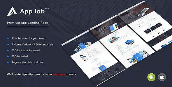 AppLab - Premium App Landing Page HTML Version - Apps Technology