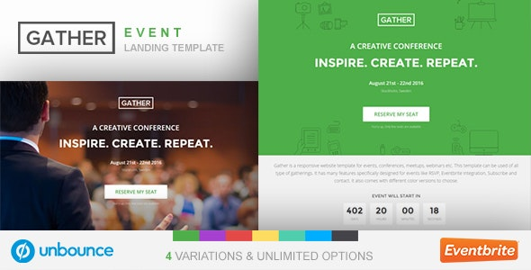Unbounce Event Landing Page Template - Gather - Unbounce Landing Pages Marketing