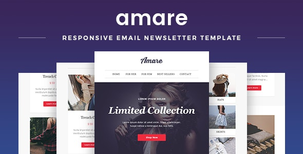 Amare - Responsive Email & Newsletter Template - Newsletters Email Templates