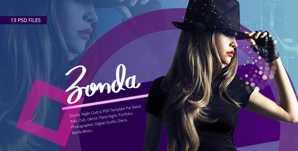 Zonda - Night Club PSD Template - Entertainment PSD Templates