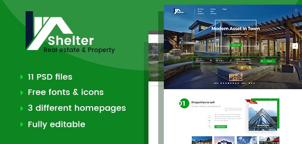 Shelter - Real Estate & Property PSD Template - Business Corporate