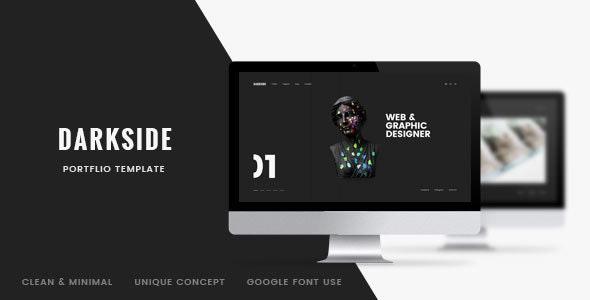Darkside —Clean & Minimal Portfolio PSD Template - Creative Photoshop