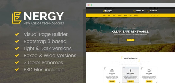 Energon - Renewable Energy and Eco Friendly Technologies HTML template with Builder - Business Corporate