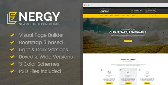 Energon - Renewable Energy and Eco Friendly Technologies HTML template with Builder