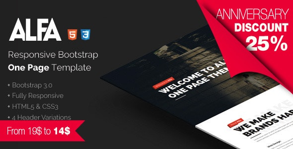 Alfa - Responsive Bootstrap One Page Template - Creative Site Templates