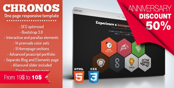 Chronos - One Page HTML Responsive Template With Hexagons and Parallax Effects - Creative Site Templates