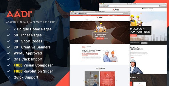 Aadi - Construction Building Responsive WordPress Theme - Business Corporate
