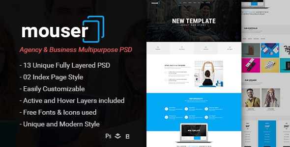 Mouser | Agency & Business Multipurpose PSD Template - Business Corporate