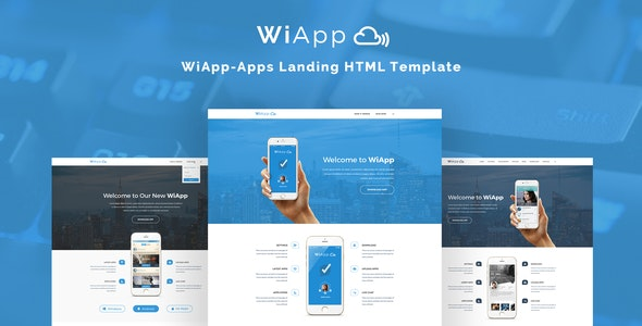 WiApp-Apps Landing HTML Template - Technology Site Templates
