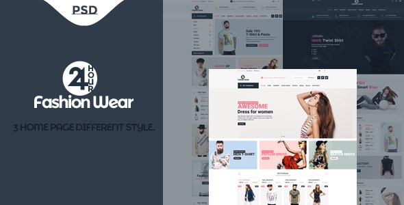 24 Hour Fashion Wear eCommerce PSD Template - Fashion Retail