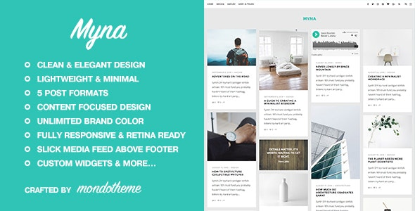 Myna - A Masonry WordPress Blog Theme - Personal Blog / Magazine