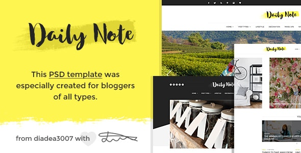 Daily Note - Creative Blog PSD Template - Creative Photoshop