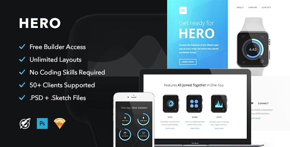 Hero - Responsive Email + Themebuilder Access - Email Templates Marketing