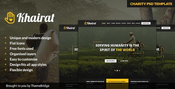 Khairat – Landing Page PSD Charity Template - Charity Nonprofit