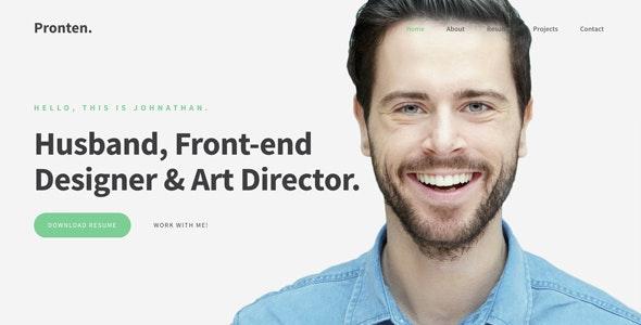 Pronten - Minimal Resume HTML Template - Personal Site Templates