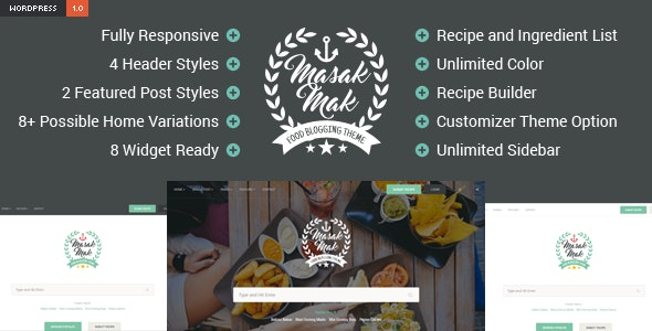 MasakMak - Recipe and Food WordPress Theme - Blog / Magazine WordPress