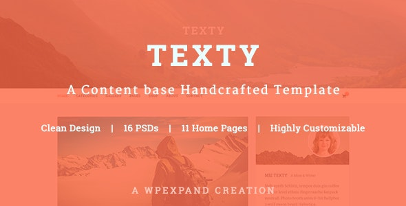 Texty - A Content-based Handcrafted Template - Personal Photoshop