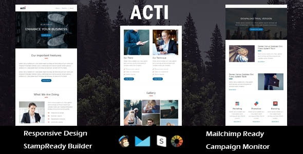 Acti - Multipurpose Responsive Email Template + Stampready Builder - Email Templates Marketing