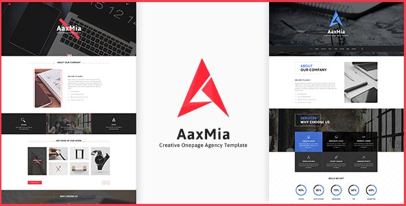 AaxMia - Onepage PSD Template - Corporate Photoshop