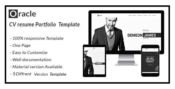 oracle CV Resume Personal  Template - Portfolio Creative