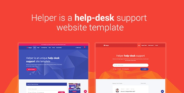 Helper - Material Design Help Desk, Support, Forum, Knowledge-Base Responsive Site Template - Miscellaneous Site Templates