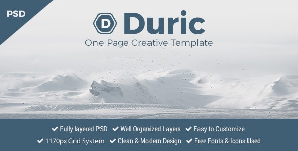 Duric - One Page PSD Template - Creative Photoshop