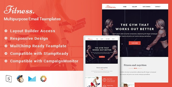 Fitness-Responsive Email Template + Stampready Builder - Email Templates Marketing