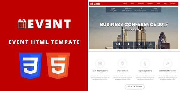EVENT - Conference and Event HTML5/CSS3 Template. - Events Entertainment