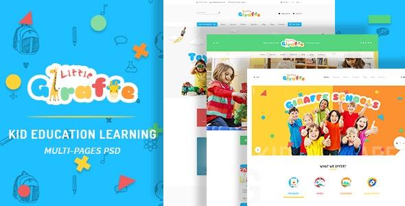 Giraffe - Kid Education Learning PSD Template - Children Retail