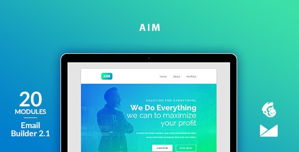 Aim Email Template + Online Emailbuilder 2.1 - Newsletters Email Templates