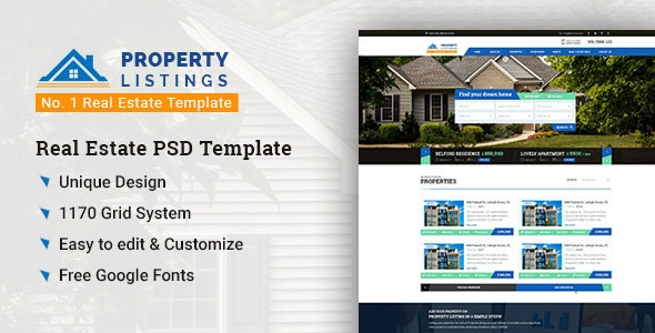 Property Listing – No. 1 Real Estate PSD Template - Business Corporate