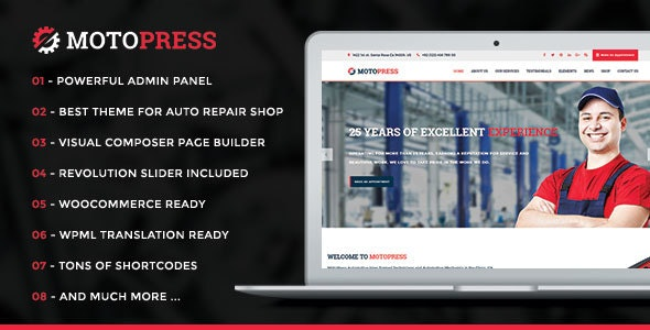 MotoPress - Auto Repair & Mechanic Shop WordPress Theme - Business Corporate