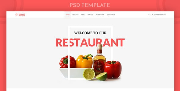 Shhaad | One Page Restaurant PSD Template - Food Retail