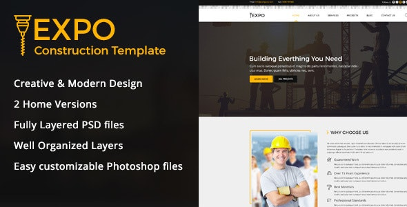 Expo Construction PSD Template - Business Corporate