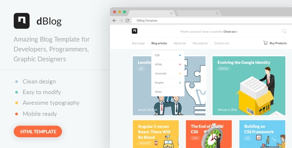 D-blog - Modern Personal Portfolio and Blog HTML Template - Portfolio Creative