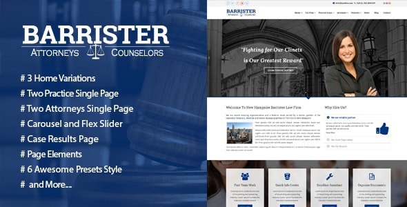 Barrister - Responsive Law Business HTML5 Template - Corporate Site Templates